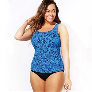 Beach Belle Tankini Beachwear Blue Swimsuit Top 24